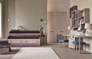 Comp. New 153, Dormitorio para niñas con camas con cajones deslizantes