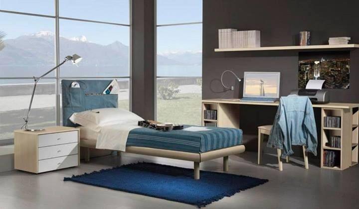 Niños Dormitorio 15, Habitación totalmente amueblado para niños, cama individual, cabecera en jeans con bolsillos