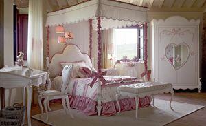 Nuvola, Dormitorio para niñas, con cama con dosel