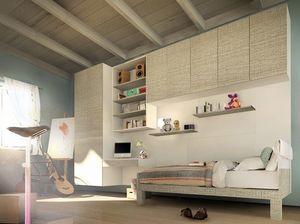 Peter Pan, Kid dormitorio con armarios y escritorio, colgados diseño moderno