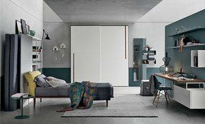 Tommy comp. 03, Dormitorio para adolescentes con armario con puertas correderas