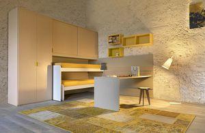 Warm comp.13, Habitación para niños con camas deslizantes y escritorio