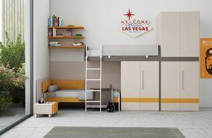Warm comp.14, Dormitorio lineal para niños, con una cama alta