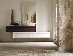 Class 01, Mueble de baño con dos grandes cajones, lavabo para montaje en superficie