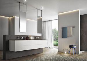 Cubik comp.01, Muebles de baño con espejos suspendidos del techo
