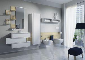 Domino 02, Muebles de ba�o con lavabo, inodoro y bid�