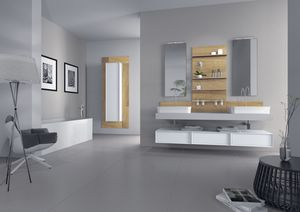 Domino 03, Muebles para el cuarto de ba�o con dos lavabos, acabado de hormig�n