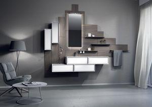 Domino 04, Muebles de baño con módulos de paneles de madera y contenedores