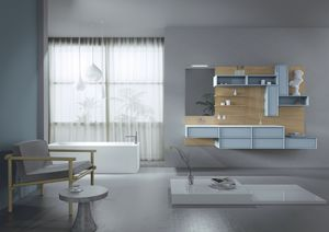 Domino 06, Muebles para el ba�o, con paneles de roble
