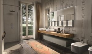 Enea 312, Mueble de baño con espejo de vidrio arenado