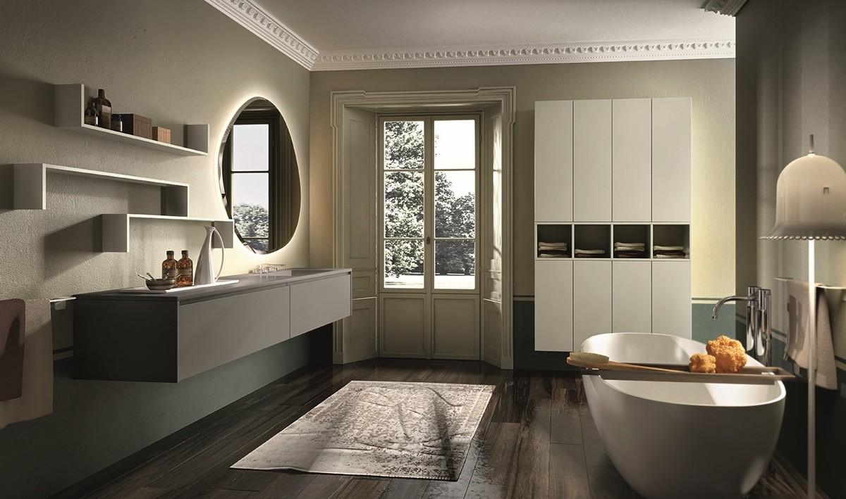 Muebles de ba o de porcelana con espejo retroiluminado idfdesign - Espejo retroiluminado bano ...