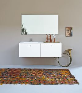 Kube 02, Cuarto de baño minimalista, con lavabo integrado, de color blanco