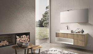 Kyros 108, Muebles de baño de madera de roble y acabados lacados en blanco