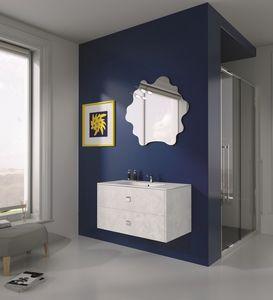 Singoli S 12, Compositiion de baño moderno, tiradores cromados