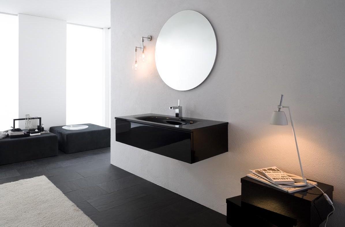 Mueble de ba o con lavabo de cristal acabado en negro brillante idfdesign - Muebles de bano negros ...