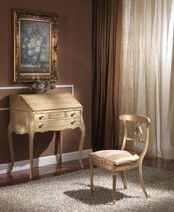 712 WRITING DESK, De lujo Escritorio clásico con solapa, acabado pan de oro