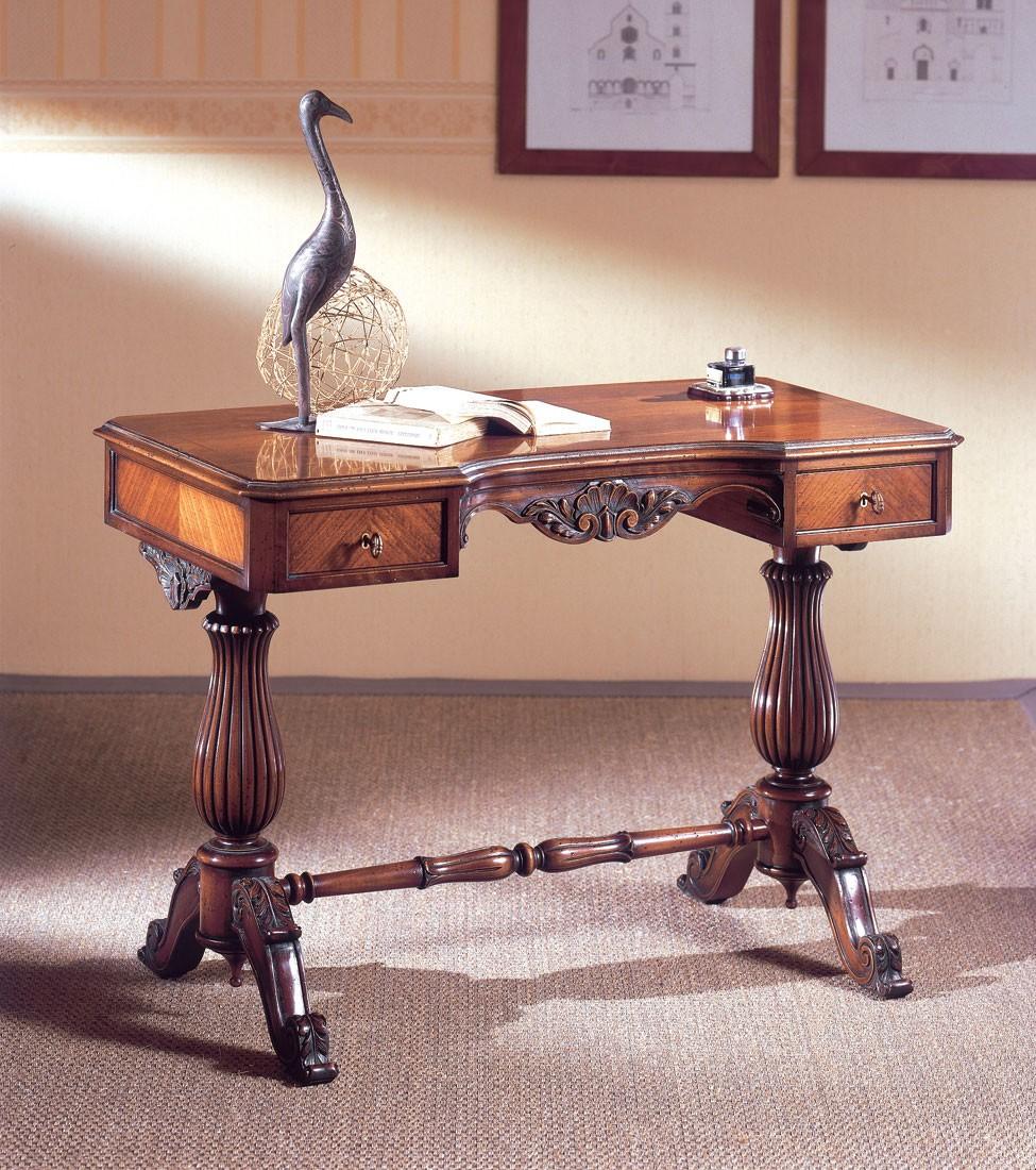 Art. 214, Escritorio de lujo, madera tallada, con 2 cajones