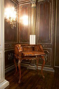 Art.802, Mesa de escritorio en madera de nogal, hecho a mano, estilo 700