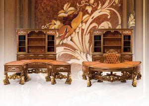 Composición del artículo 6930, Muebles clásicos, oficina, magníficas tallas, materiales nobles