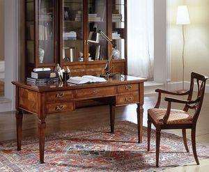 D 401, Clásico escritorio de madera de cerezo, la tapa con incrustaciones