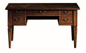 Empoli ME.0947, Escritorio de nogal con 5 cajones, estilo clásico de lujo