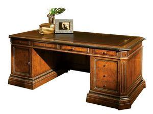 Londa ME.0950, Escritorio de nogal, la parte superior de cuero, para la oficina en estilo clásico