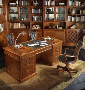 R 401, Escritorio ejecutivo en madera de cerezo, la parte superior de cuero, compartimiento secreto