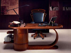 SC16 Zebrano escritorio, Escritorio de madera con cajones, de estilo clásico