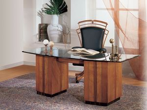 SO24 escritorio, Escritorio con tapa de cristal, medallones con incrustaciones en madera de cerezo