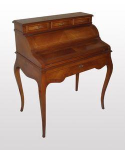 Thomas, Mesa de escritorio de madera de nogal con tapa en cuero