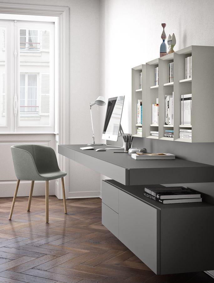 Ala escritorio, Escritorio suspendido, en madera lacada o con chapa