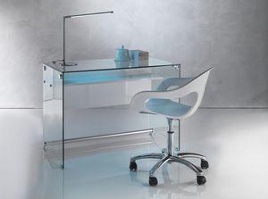 Art. 906 Desk, Escritorio con un diseño limpio, en vidrio trasnsparent