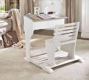 Beniamino escritorio infantil, Ergonómica para el niño, en madera, con asiento