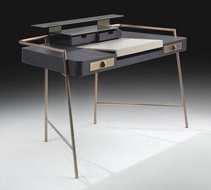 Flat, Escritorio con patas de acero, madera y tapa de cuero