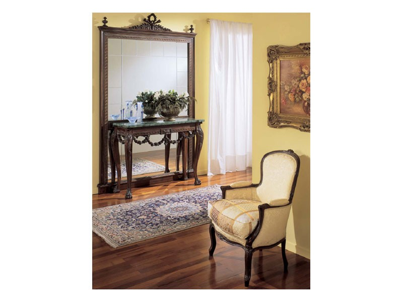 3160 MIRROR, Espejo clásico de lujo, en madera tallada a mano