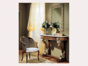 3270 MIRROR, Espejo rectangular con adornos de oro, para los hoteles clásicos