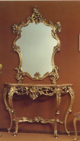 565 ESPEJO, Espejo con marco tallado, con acabado en pan de oro