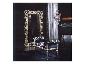 701 MIRROR, Espejo en madera, acabado en plata, estilo clásico de lujo