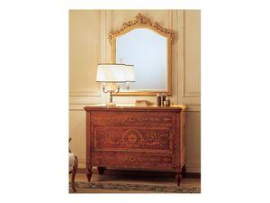 Art. 2165 '700 Italiano Maggiolini, Clásica espejo de lujo, con marco tallado, pan de oro