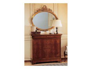 Art. 2170/0 '800 Francese Luigi Filippo, Espejo ovalado elegante, marco en acabado pan de oro, talladas a mano