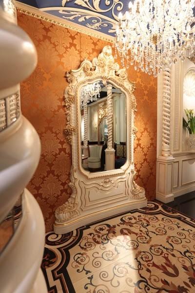 Art of Decor Espejo, Clásico de la mano del espejo tallado, con acabados de oro