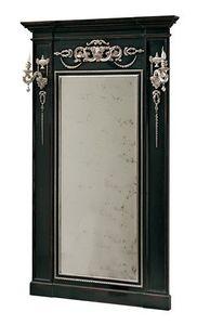 Canaletto RA.0844, Espejo lacquared con decoraciones con incrustaciones y columnas laterales
