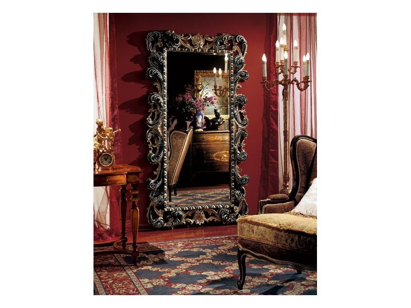 Complements mirror 854, Gran espejo rectangular con marco decorado de madera