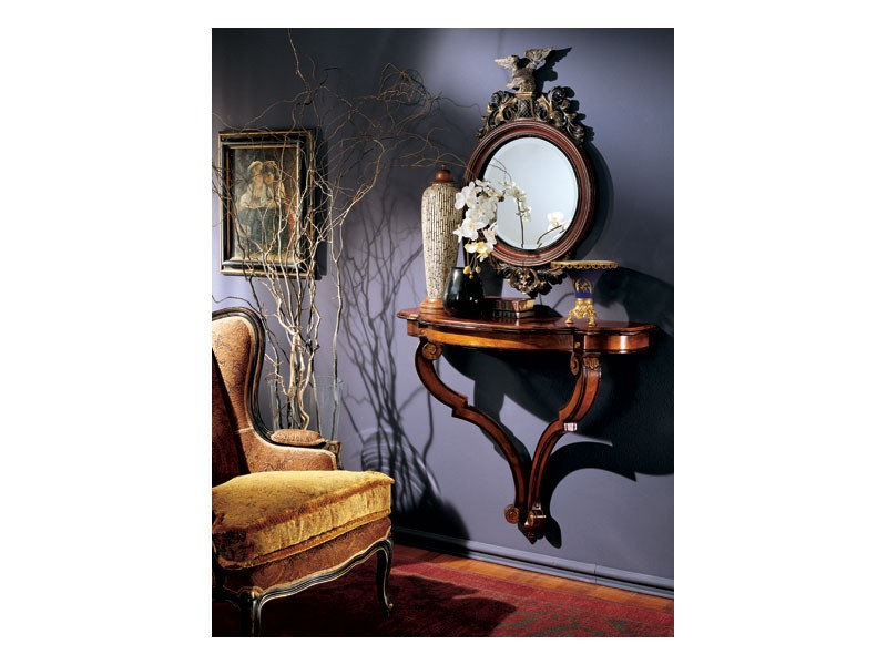 Console mirror 863, Espejo redondo con marco de madera decorada