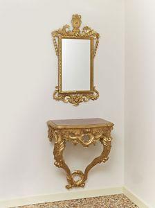 CONSOLLE + ESPEJO ART.CL0001 + CR 0023, Juego clásico con la consola y espejo, tallada con motivos vegetales