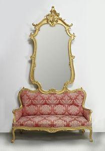 COUCH CON ESPEJO ART. SD 0012, Sofá con espejo para el ingreso en el estilo clásico y lujoso