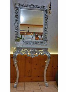 Edera espejo, Espejo rectangular clásico con acabados de plata lieaf