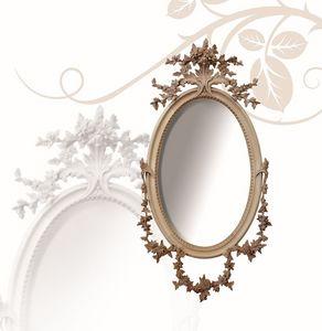 Espejo art. 177, Espejo oval, en madera de tilo, tallada a mano finamente con flores