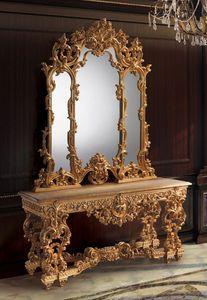 F770, Consola y espejo de oro, estilo lujoso clásico