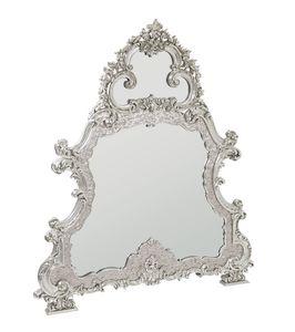 Imperial espejo, Espejo con marco de madreperla, tallado y cubierto de oro blanco